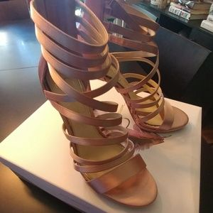Jessica Simpson Nude Blush Crystal Satin Sandals